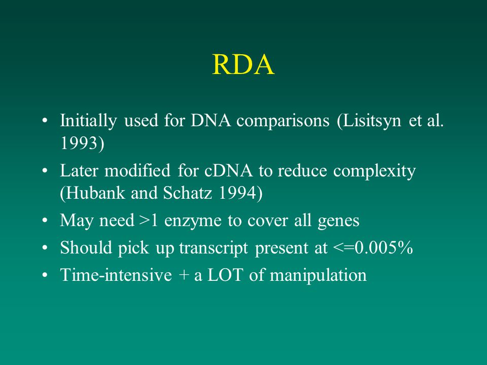 RDA Initially used for DNA comparisons (Lisitsyn et al. 1993)