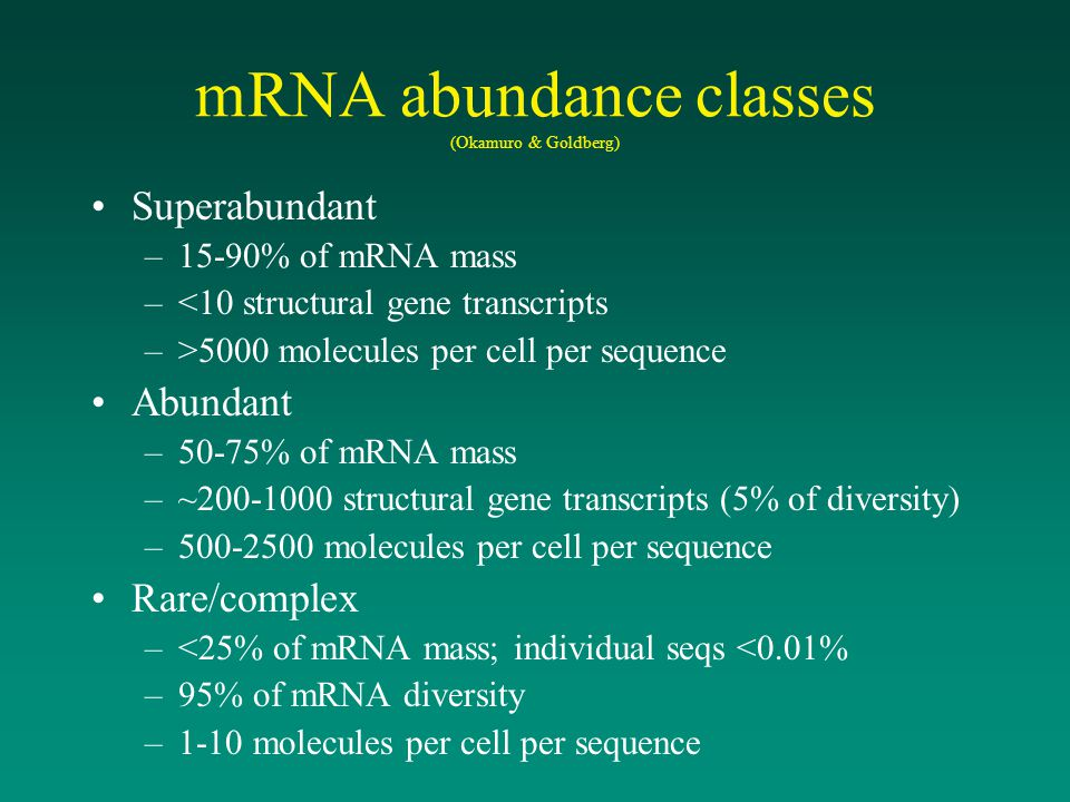 mRNA abundance classes (Okamuro & Goldberg)