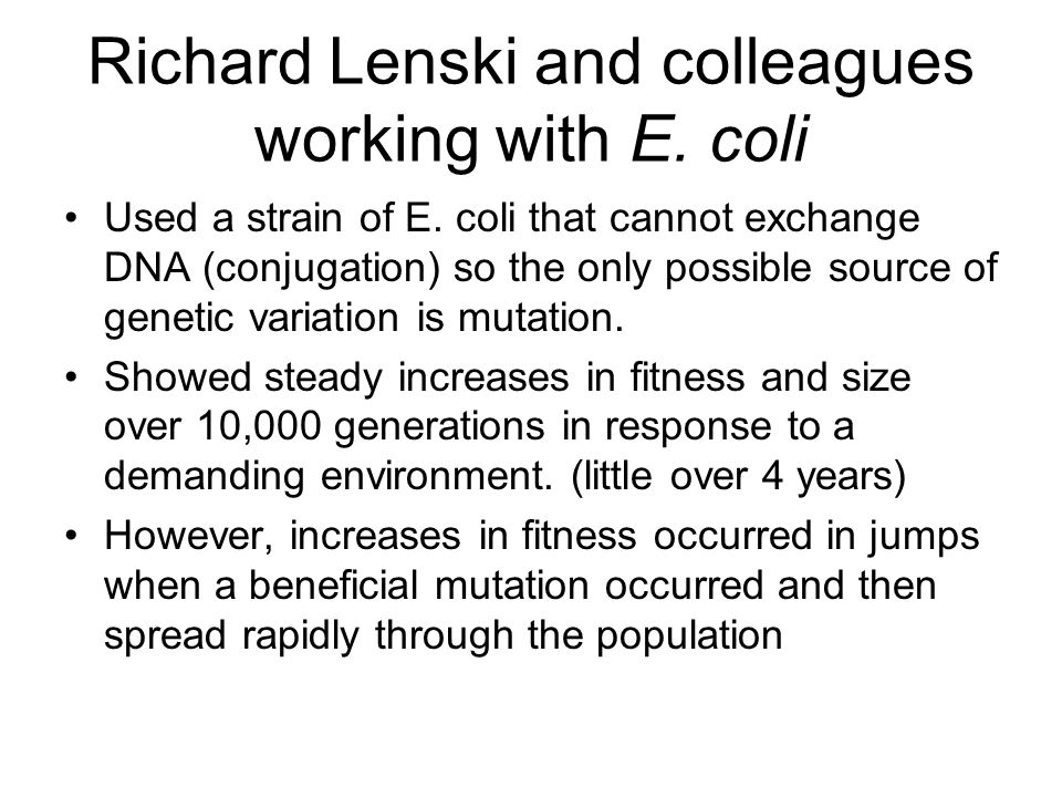 Richard Lenski and colleagues working with E. coli