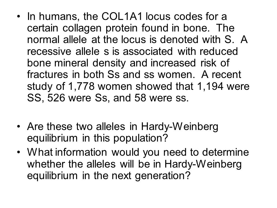 In humans, the COL1A1 locus codes for a certain collagen protein found in bone. The normal allele at the locus is denoted with S. A recessive allele s is associated with reduced bone mineral density and increased risk of fractures in both Ss and ss women. A recent study of 1,778 women showed that 1,194 were SS, 526 were Ss, and 58 were ss.
