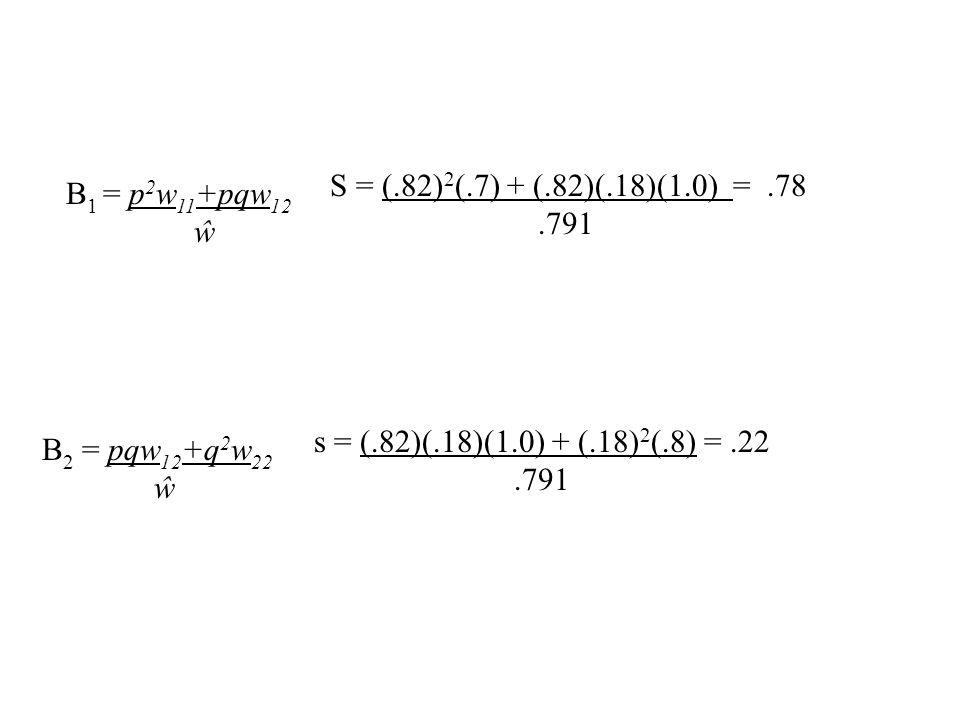 S = (.82)2(.7) + (.82)(.18)(1.0) = .78 .791 B1 = p2w11+pqw12 ŵ.