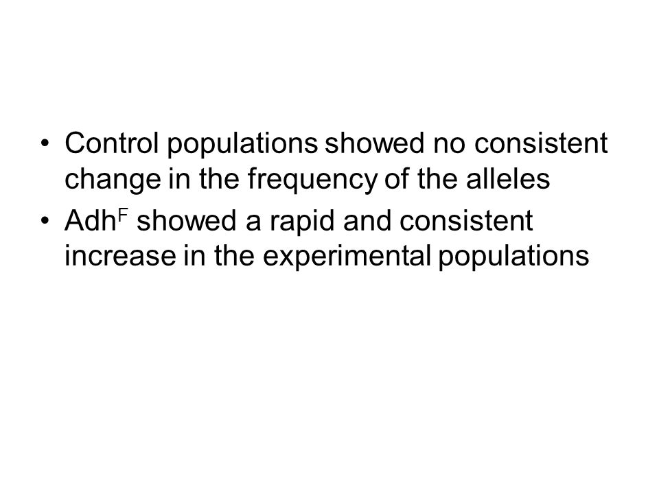 Control populations showed no consistent change in the frequency of the alleles
