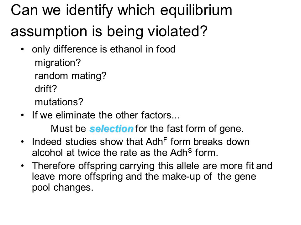 Can we identify which equilibrium assumption is being violated