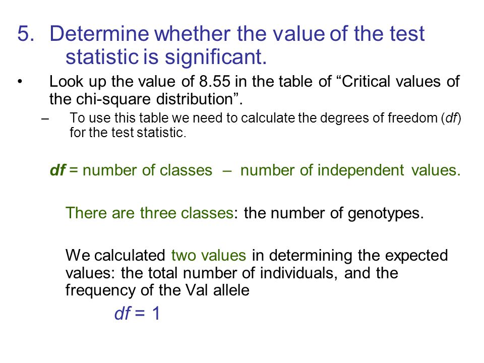 Determine whether the value of the test statistic is significant.