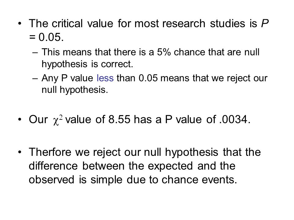 The critical value for most research studies is P = 0.05.