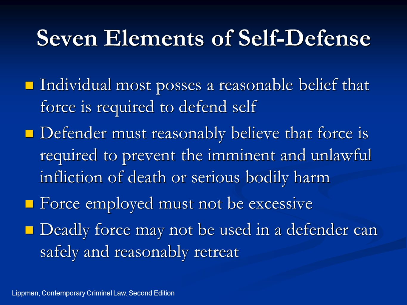 Seven Elements of Self-Defense
