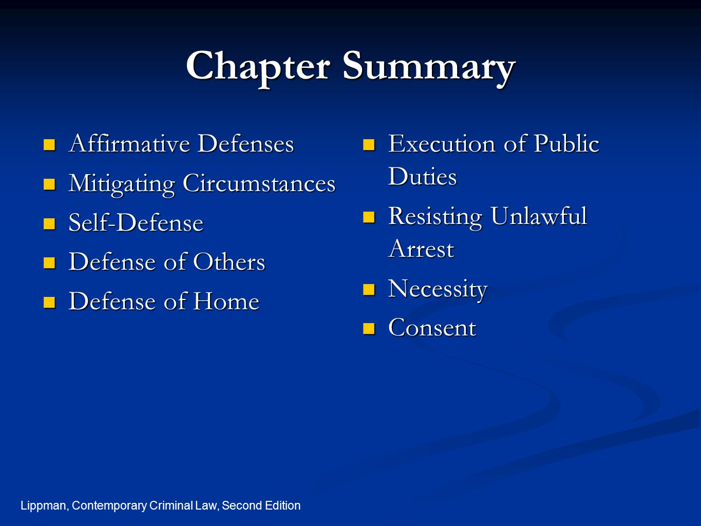 Chapter Summary Affirmative Defenses Mitigating Circumstances