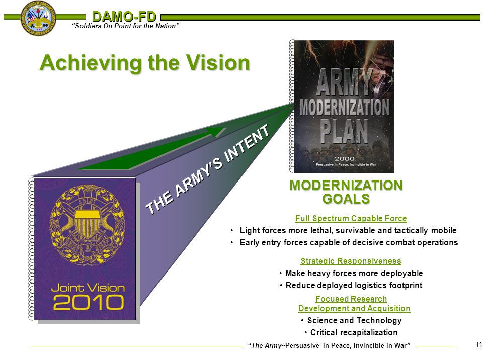 Achieving the Vision THE ARMY'S INTENT MODERNIZATION GOALS