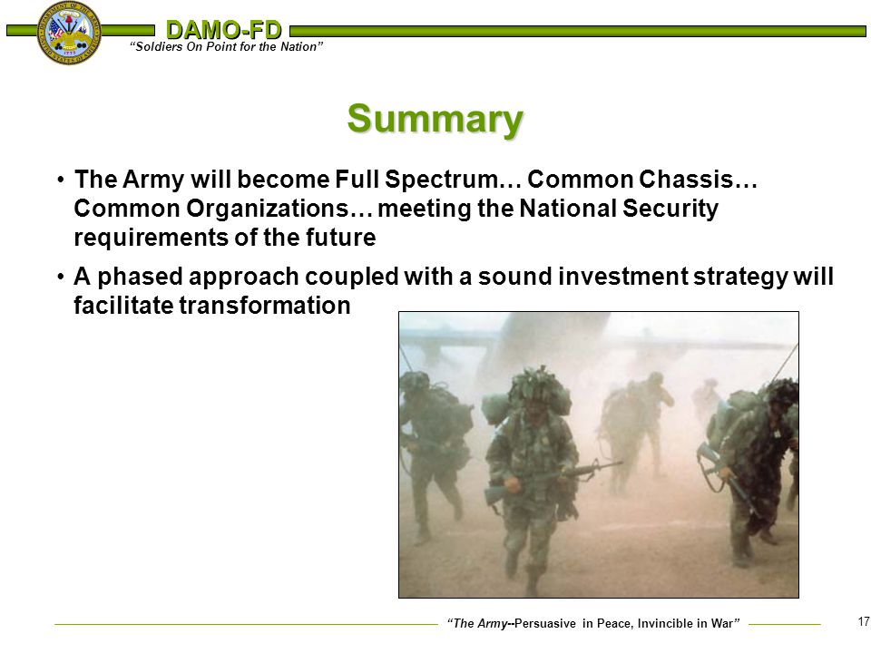 Summary The Army will become Full Spectrum… Common Chassis… Common Organizations… meeting the National Security requirements of the future.