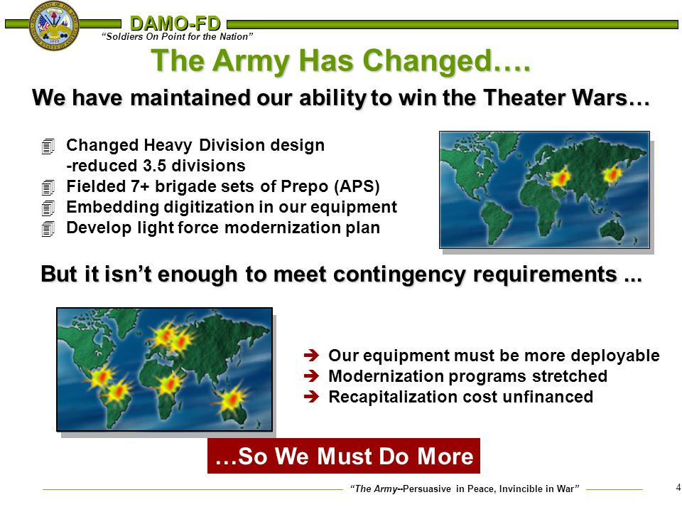 The Army Has Changed…. …So We Must Do More