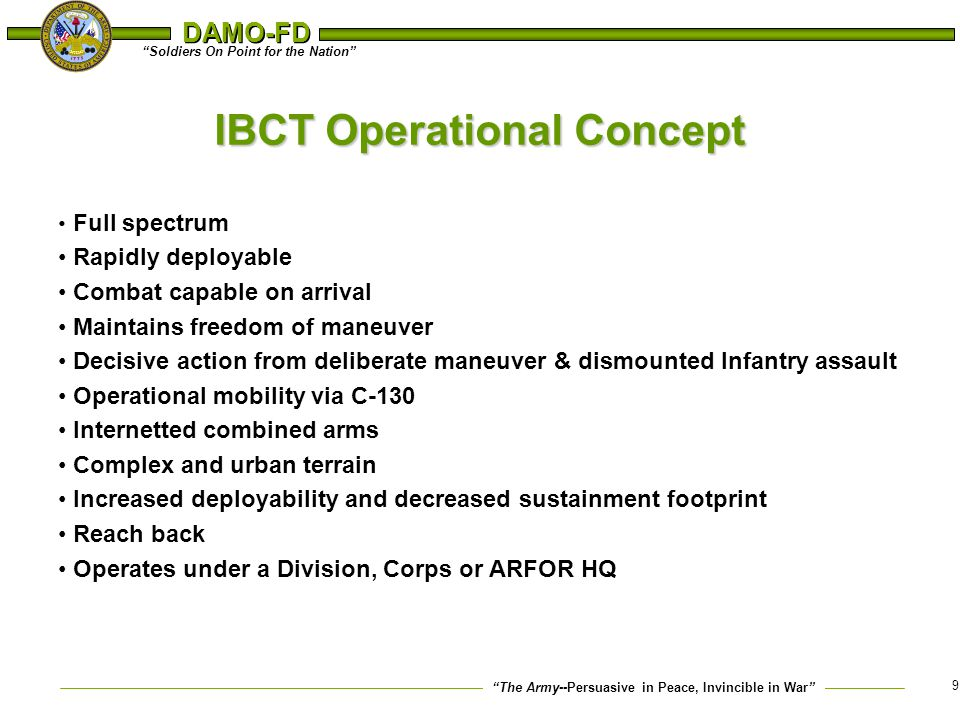 IBCT Operational Concept