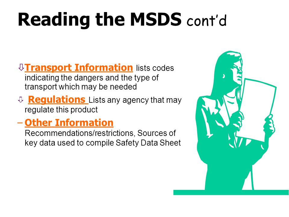 Reading the MSDS cont'd