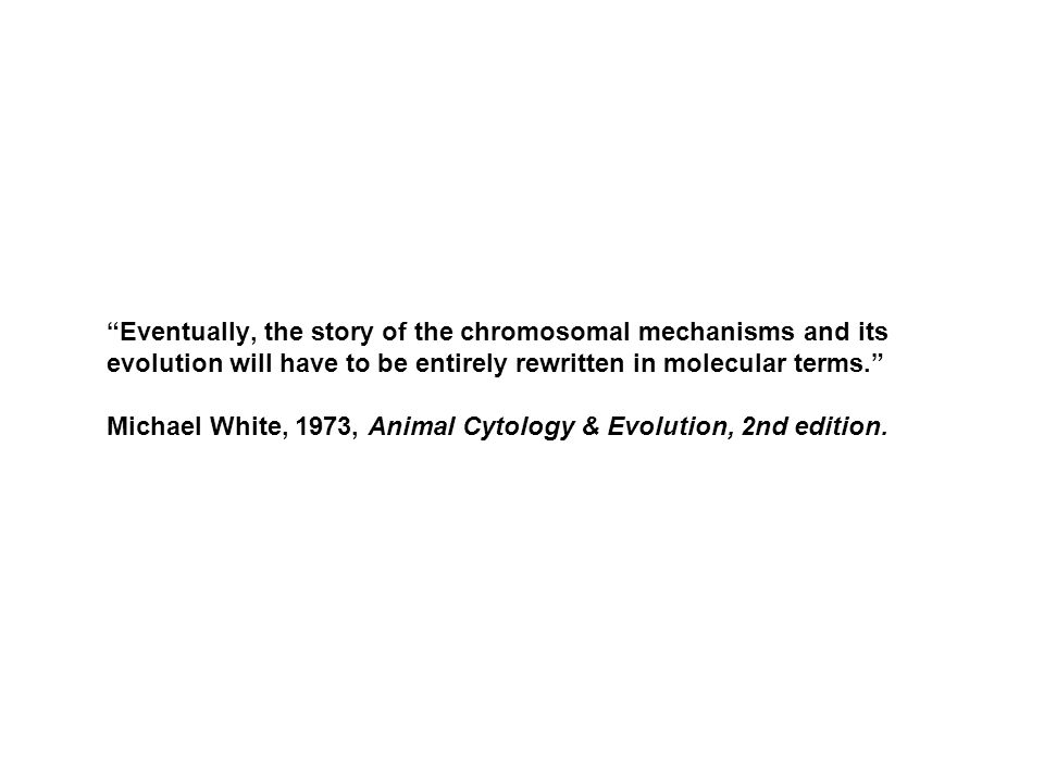 Eventually, the story of the chromosomal mechanisms and its evolution will have to be entirely rewritten in molecular terms. Michael White, 1973, Animal Cytology & Evolution, 2nd edition.