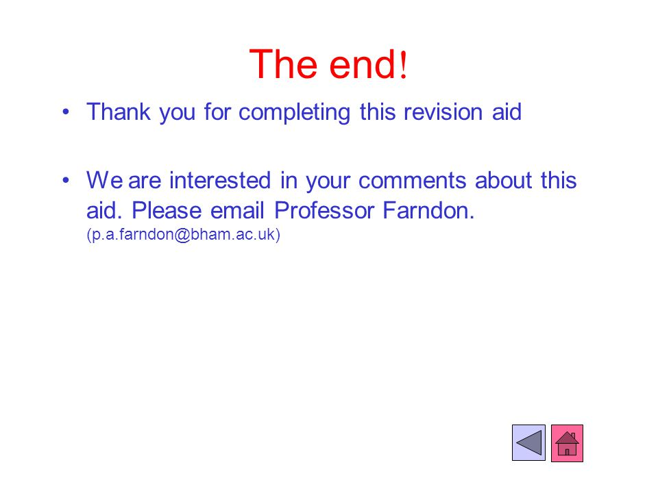 The end! Thank you for completing this revision aid