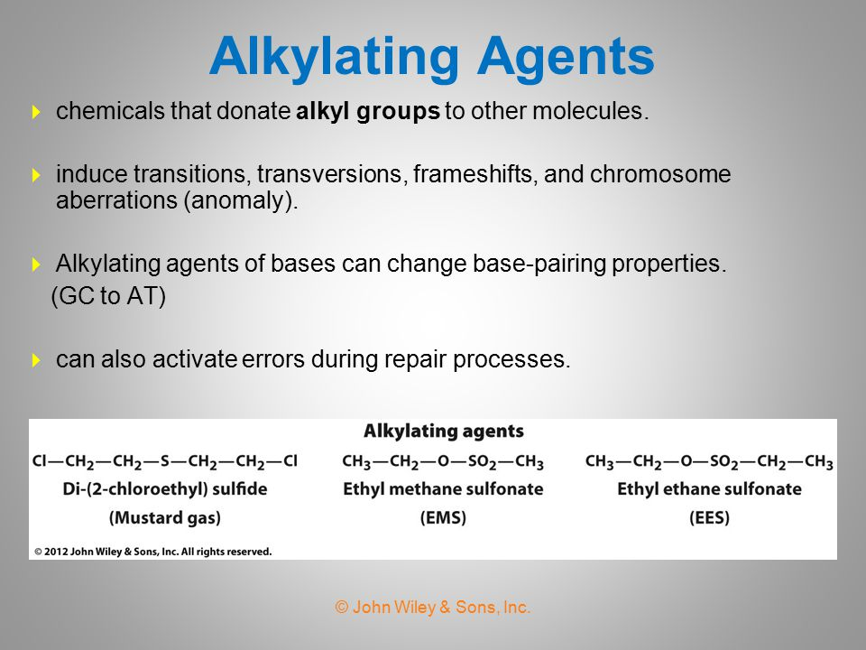 Alkylating Agents chemicals that donate alkyl groups to other molecules.