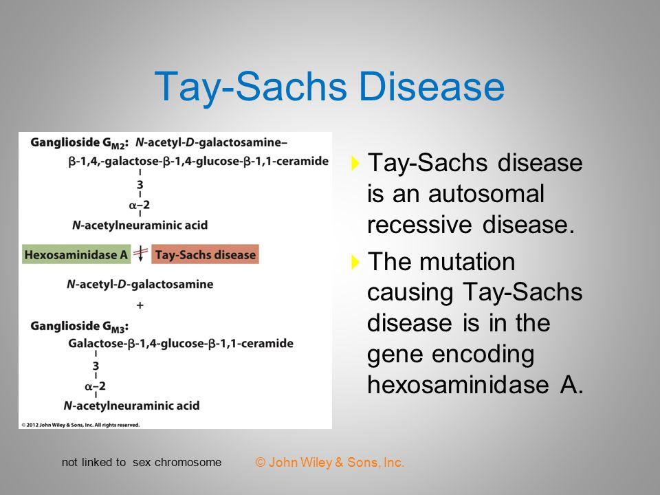 Tay-Sachs Disease Tay-Sachs disease is an autosomal recessive disease.