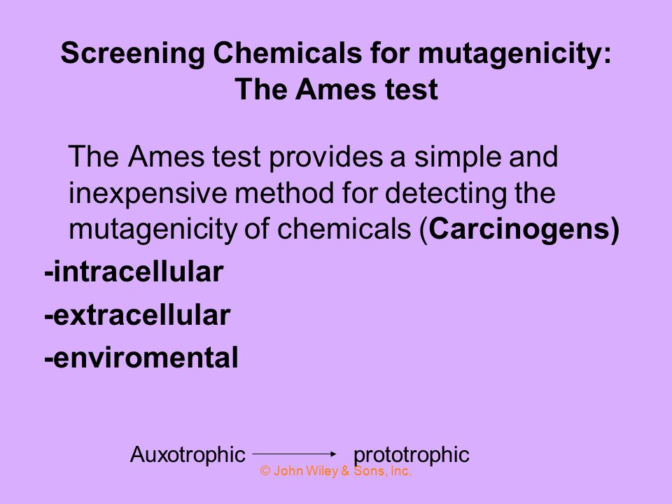 Screening Chemicals for mutagenicity: The Ames test