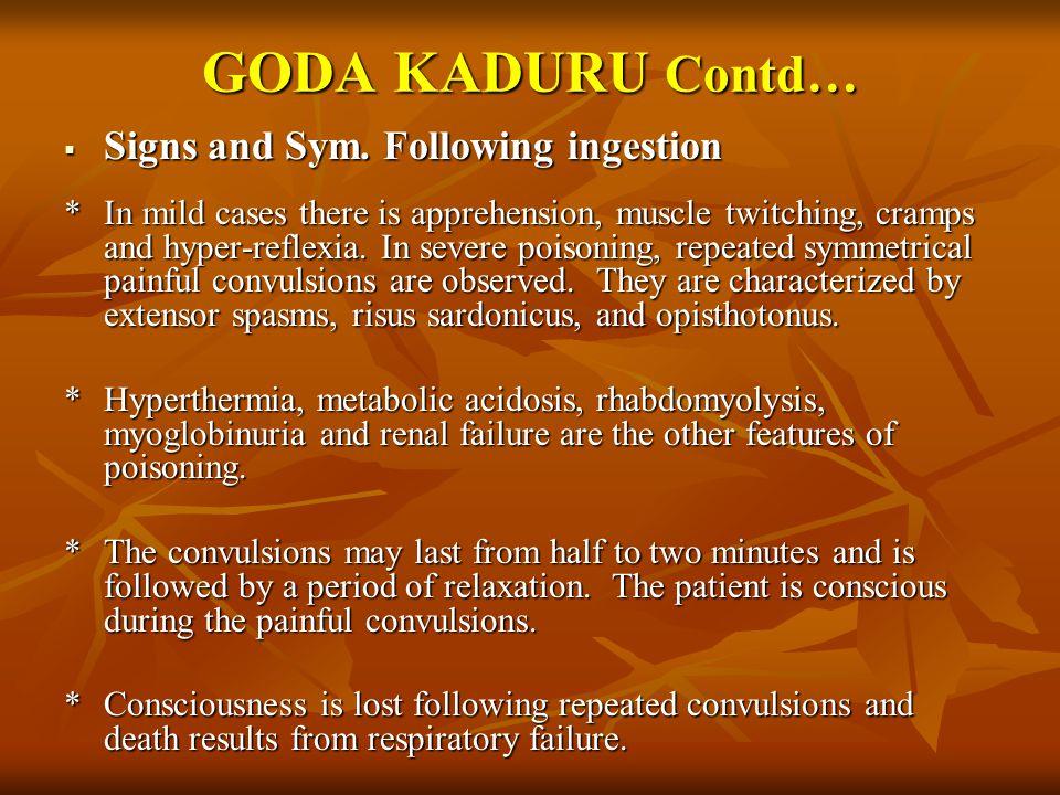 GODA KADURU Contd… Signs and Sym. Following ingestion