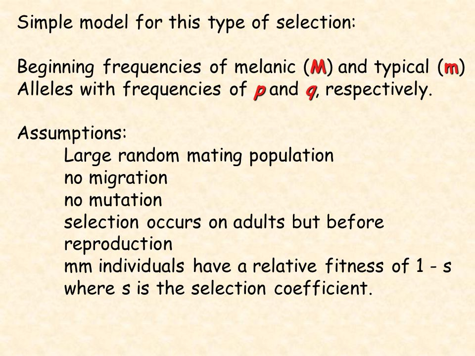 Simple model for this type of selection: