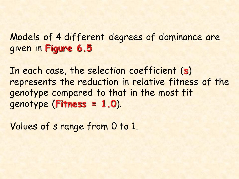 Models of 4 different degrees of dominance are