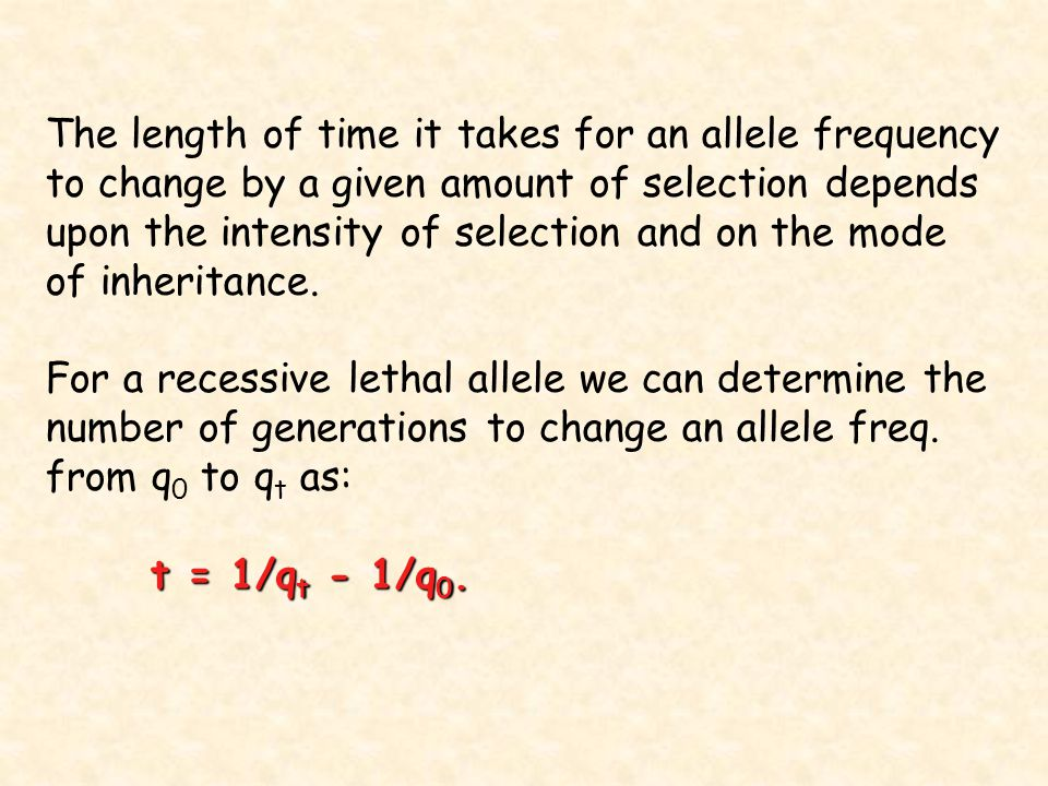 The length of time it takes for an allele frequency