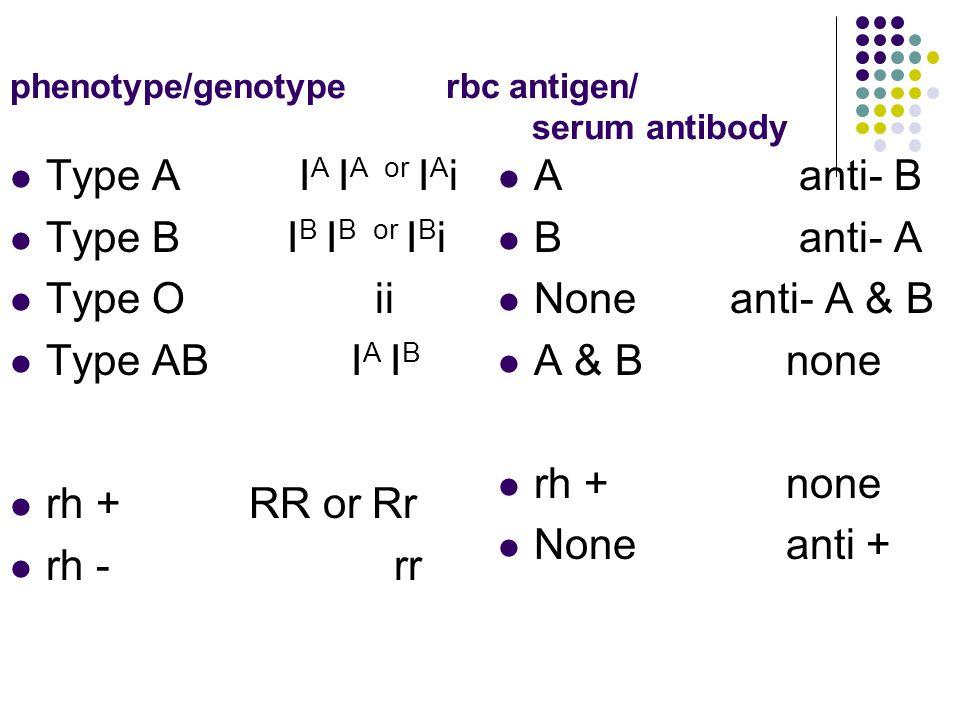 phenotype/genotype rbc antigen/ serum antibody