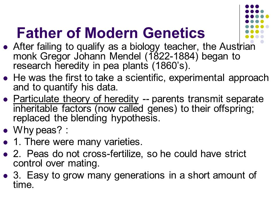 mendel and the gene idea ppt
