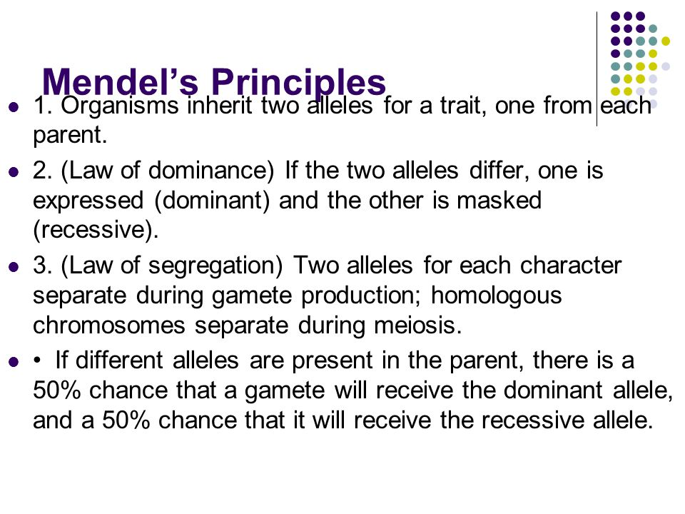 Mendel's Principles 1. Organisms inherit two alleles for a trait, one from each parent.