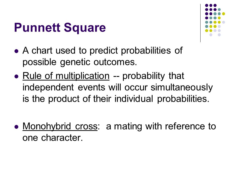Punnett Square A chart used to predict probabilities of possible genetic outcomes.