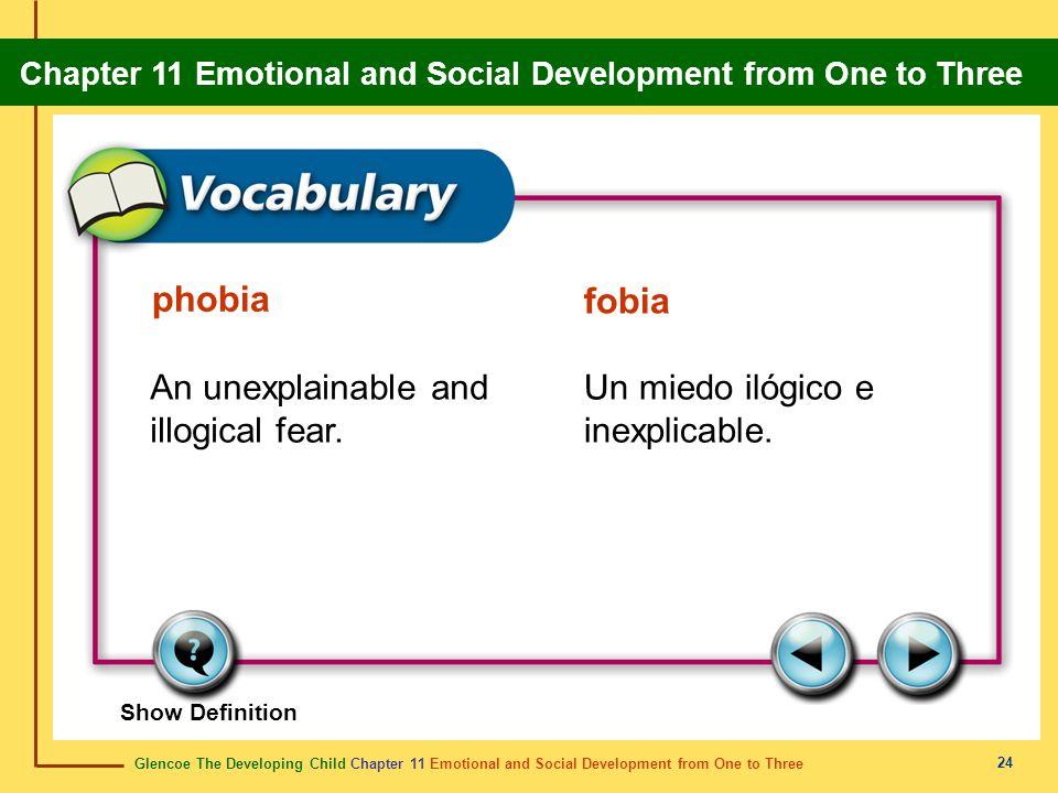 phobia fobia An unexplainable and illogical fear.