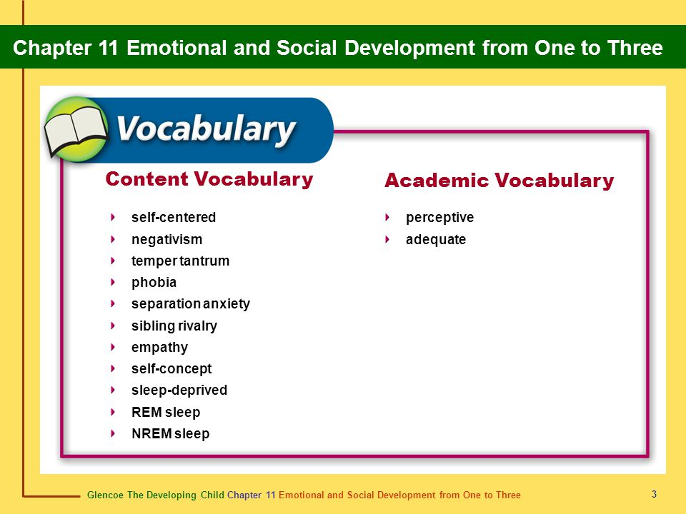 Content Vocabulary Academic Vocabulary self-centered negativism