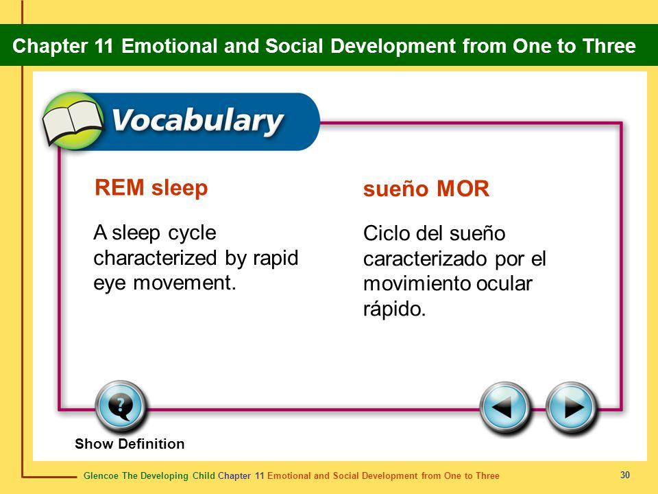 REM sleep sueño MOR A sleep cycle characterized by rapid eye movement.