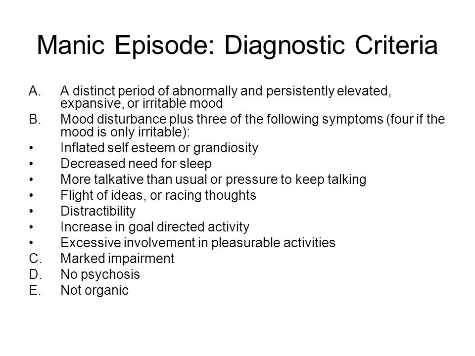 Manic Episode: Diagnostic Criteria