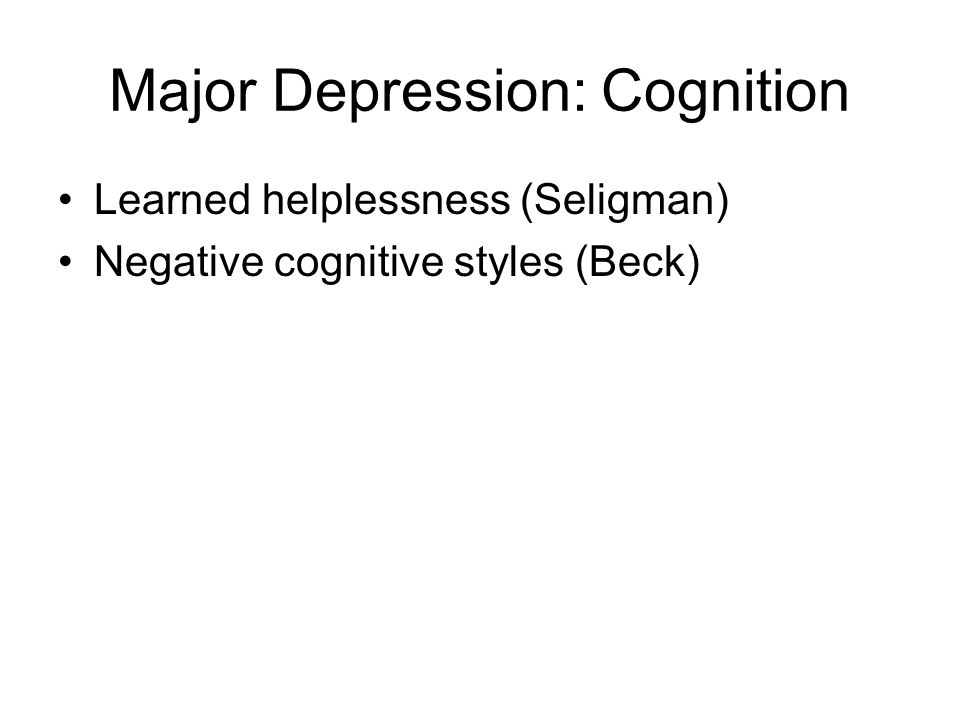 Major Depression: Cognition