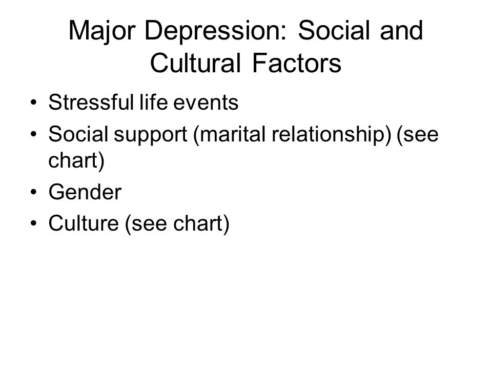 Major Depression: Social and Cultural Factors
