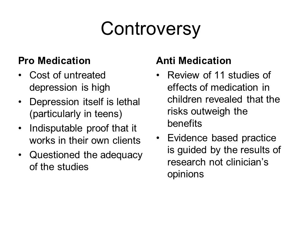 Controversy Pro Medication Cost of untreated depression is high