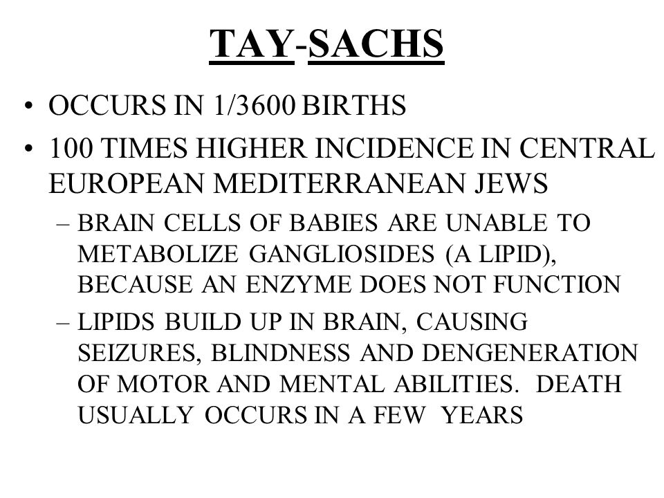 TAY-SACHS OCCURS IN 1/3600 BIRTHS