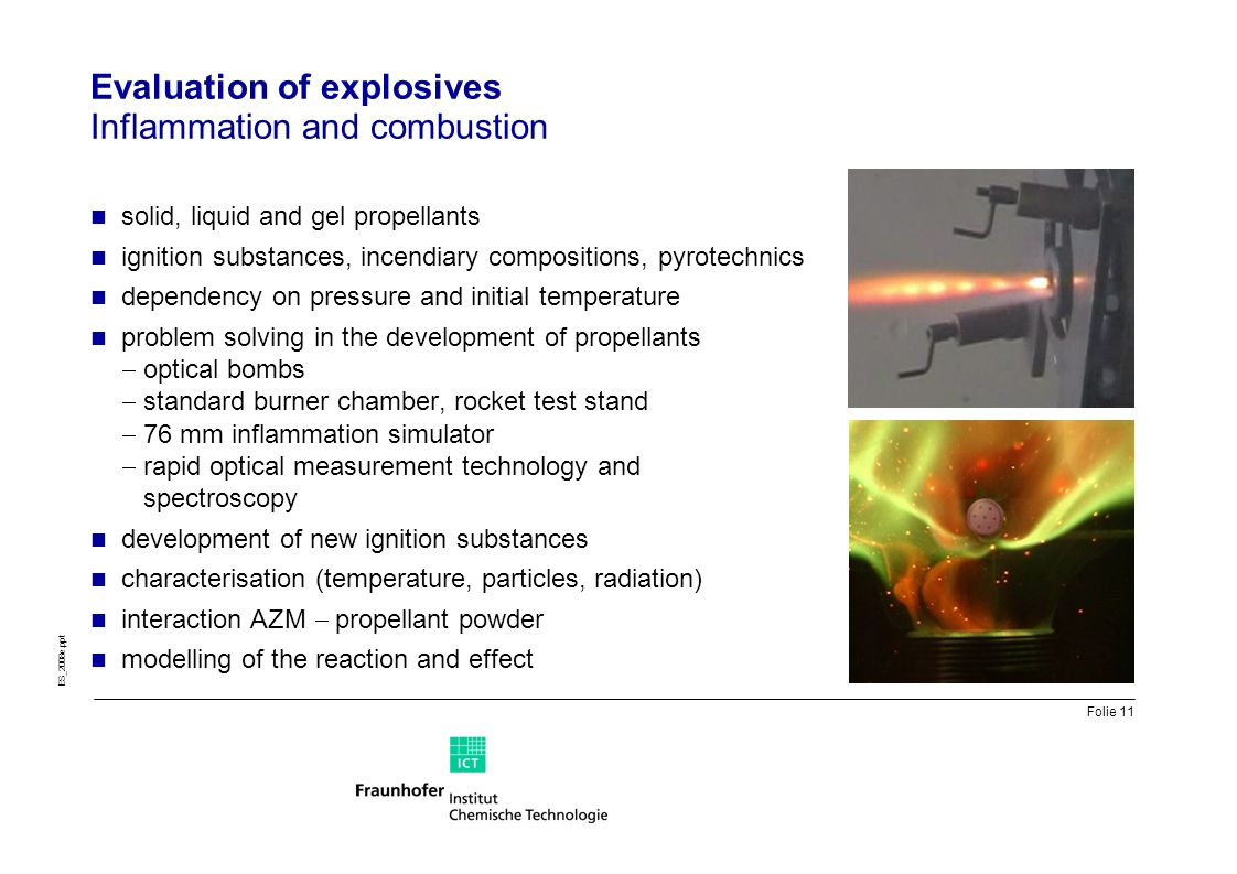 Evaluation of explosives Inflammation and combustion