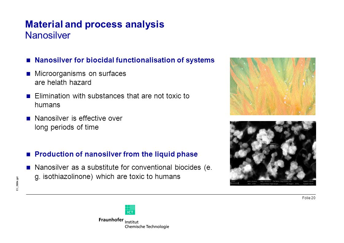 Material and process analysis Nanosilver