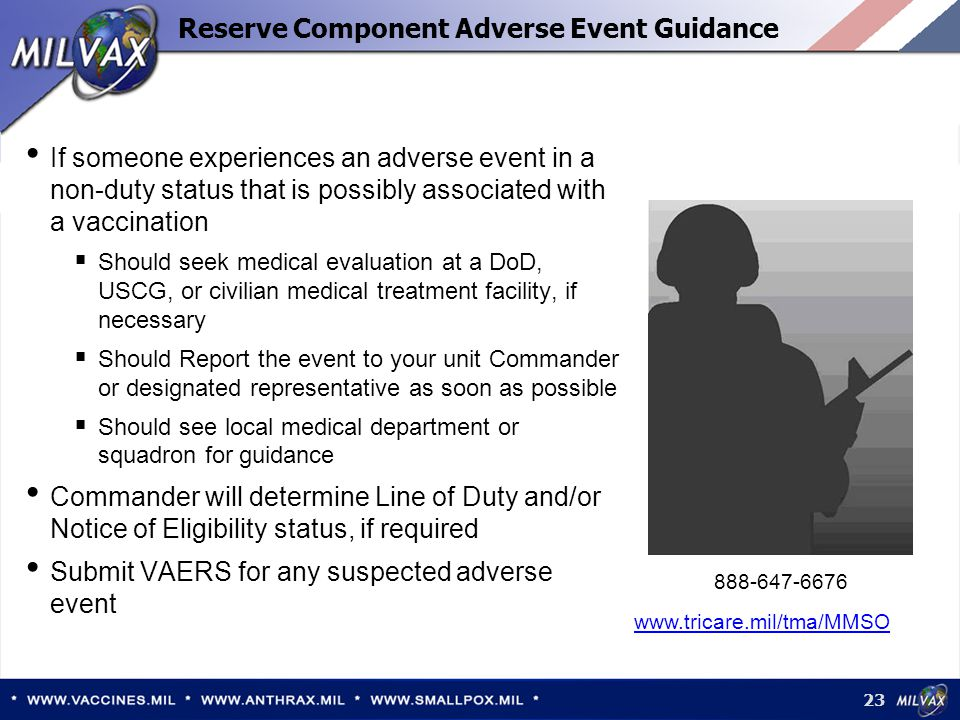 Reserve Component Adverse Event Guidance