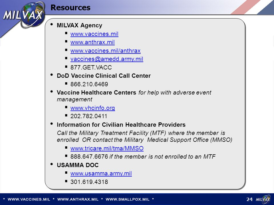 Resources MILVAX Agency www.vaccines.mil www.anthrax.mil