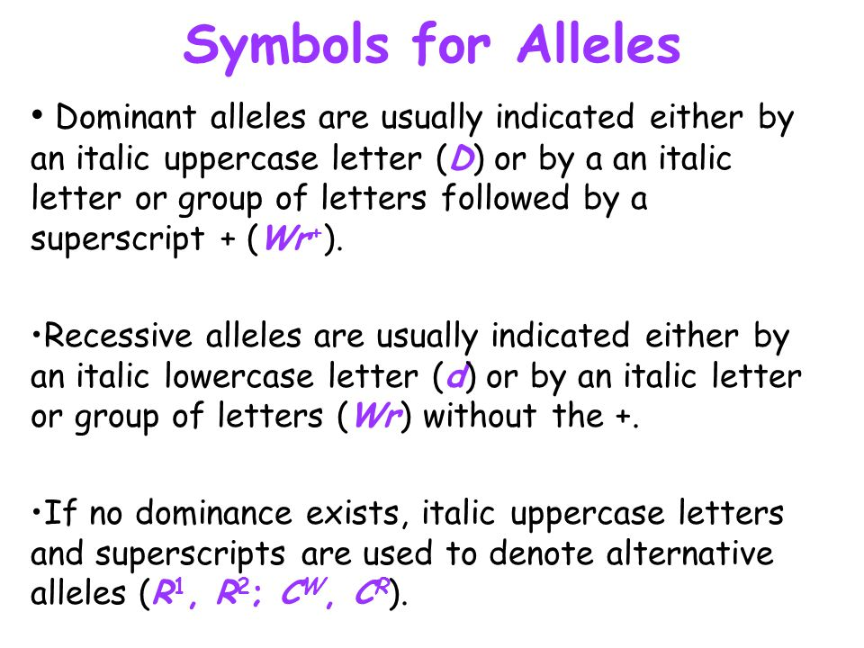 Symbols for Alleles