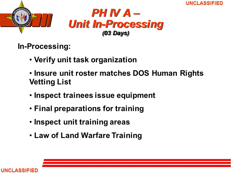 PH IV A – Unit In-Processing (03 Days)