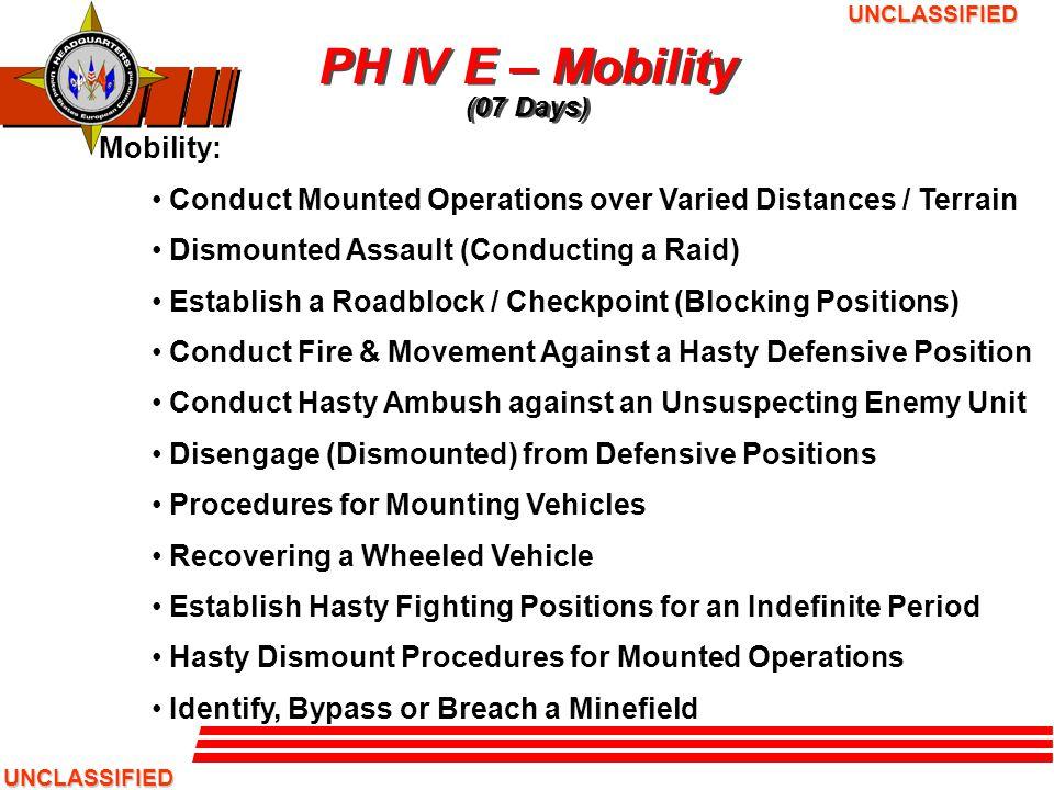 PH IV E – Mobility (07 Days)