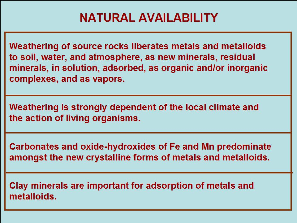 NATURAL AVAILABILITY Weathering of source rocks liberates metals and metalloids. to soil, water, and atmosphere, as new minerals, residual.