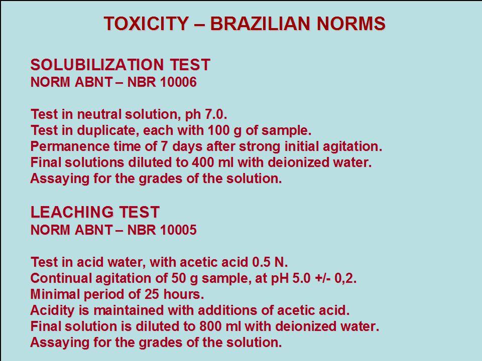 TOXICITY – BRAZILIAN NORMS