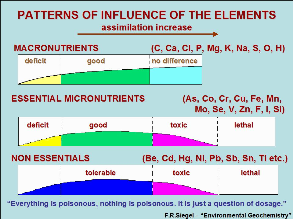 PATTERNS OF INFLUENCE OF THE ELEMENTS assimilation increase