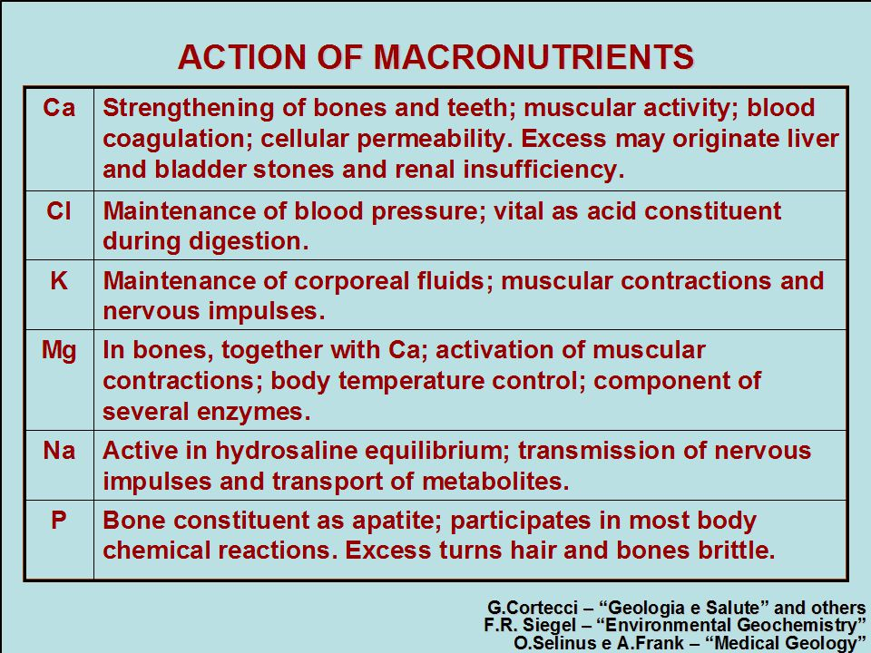 ACTION OF MACRONUTRIENTS