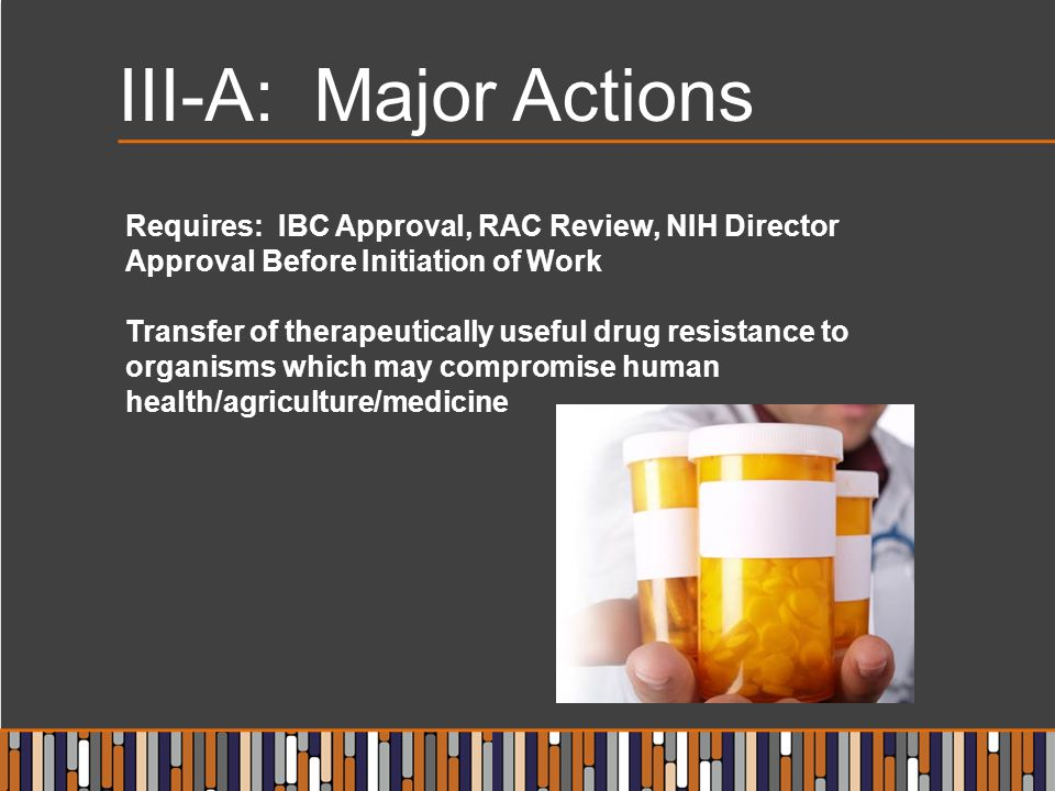 III-A: Major Actions Requires: IBC Approval, RAC Review, NIH Director Approval Before Initiation of Work.