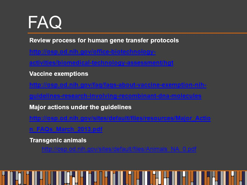 FAQ Review process for human gene transfer protocols